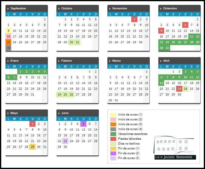 Calendario Educacyl.Ceip Jacinto Benavente